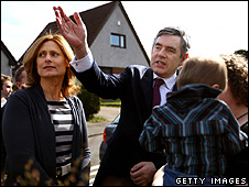 Gordon Brown on the campaign trail with wife Sarah