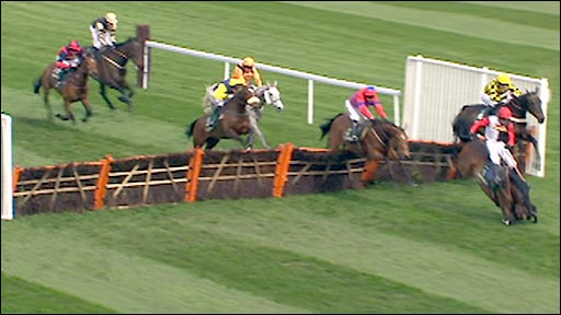 Ruby Walsh falls on Celestial Halo (far right)