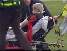 Ruby Walsh is stretchered off Aintree Racecourse after being injured