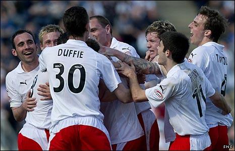Falkirk celebrate Pedro Moutinho's goal