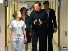 David Cameron visits Kingston Hospital in Surrey