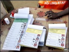 Pile of ballot papers in Juba
