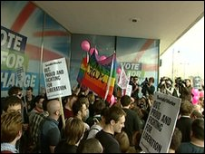 Gay rights campaigners gathered outside Conservative headquarters