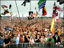Fans at the Glastonbury Festival in 2009