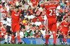 Steven Gerrard and jamie carragher react during the 0-0 draw with Fulham