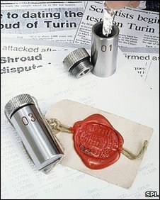 Stainless steel phials and silver foil packet containing sample of the Shroud of Turin for radiocarbon dating at Oxford University