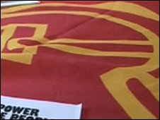 Communist Party manifesto and flag
