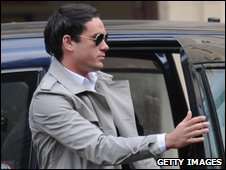Jack Tweed arriving at court earlier