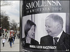Warsaw poster showing the late Polish President Lech Kaczynski and his wife Maria