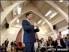 Nick Clegg, speaking at St Luke's Church Hall , London