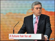 Gordon Brown delivering Labour's manifesto