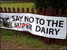 Banner opposing dairy