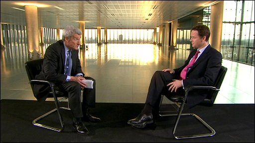 Jeremy Paxman (left) and Nick Clegg