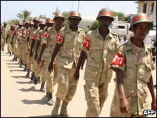 Soldiers celebrate the 50th anniversary of the Somali military, 12  April