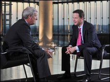 Jeremy Paxman (l) interviews Nick Clegg