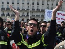 Greek firemen protesting