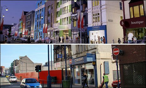 Swansea's High Street today and how it is planned to look