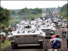UN vehicles near Goma