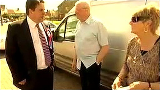 Nick Griffin campaigning in Barking