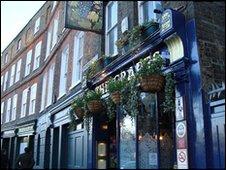 A pub in Narrow Street along the marathon route.
