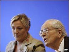Marine and Jean-Marie Le Pen in Paris, 12 April 2010