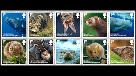 New mammal stamps from Roayl Mail