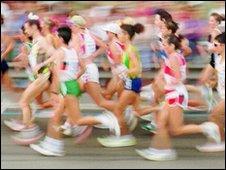 Women running in a marathon