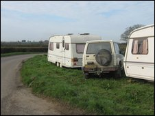 Hughes' caravans on the side of the road