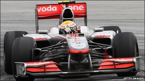 Lewis Hamilton in his McLaren car