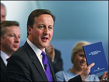 David Cameron with manifesto