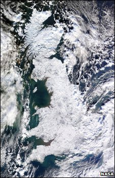 Satellite image showing the British Isles covered in snow (Image: NASA)