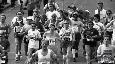 Jimmy Saville and other runners taking part in the 1986 London Marathon.