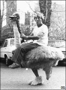 Bernie Clifton on his ostrich in 1982 - a regular runner of the marathon.