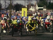 Wheelchair competitors start at Blackheath in 1995.