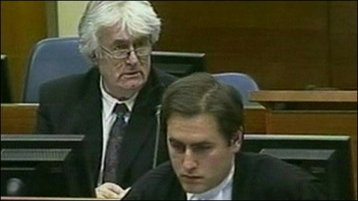 Radovan Karadzic (left) at the Hague