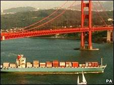 Container ship by Golden Gate Bridge