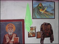 Walls of Muslim-Christian shrine in Makedonski Brod, Macedonia