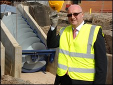 JCB Academy Trust Director Alan Thomson pictured today as the Archimedes Screw was put into position at the JCB Academy, Rocester.