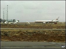 An airlines plane makes emergency landing