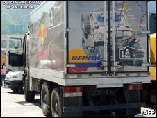 Photo released by Spanish police of lorry containing 800kg of cocaine seized in Bilbao