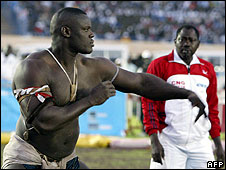 Senegalese wrestler Mohamed Ndao, also known as Tyson