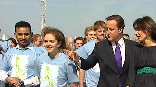 David Cameron on his way to the manifesto launch