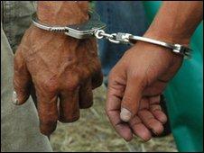Handcuffs on suspect
