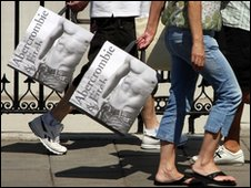Shoppers with Abercrombie & Fitch bags