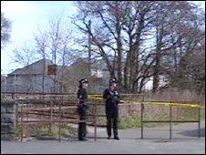 Police at the scene in Porthmadog