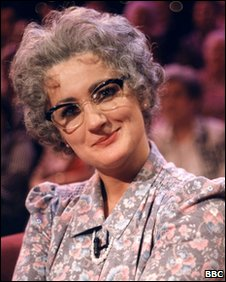 The TV character Mrs Merton, played by Caroline Ahern