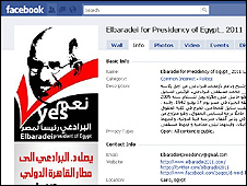 A Facebook page supporting Mr ElBaradei