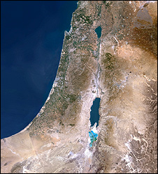 Satellite map showing Israel and Palestinian territories