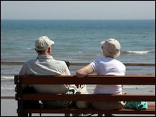 Pensioners by the sea in Dorset
