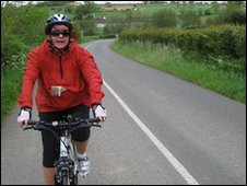 Georgina Wroe on her bicycle